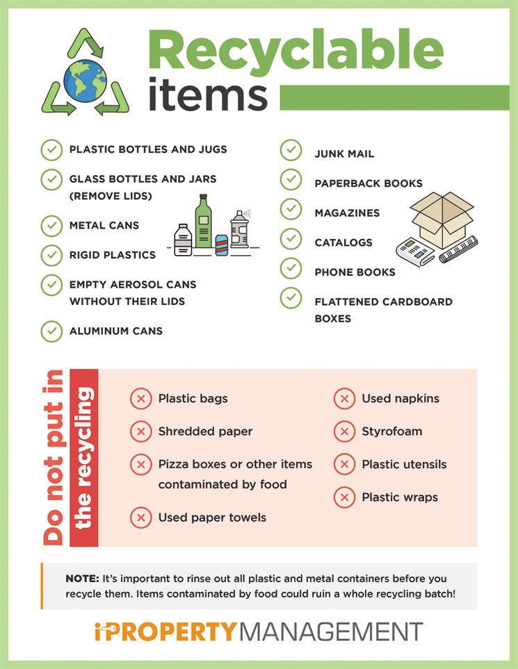A great reference for what is and what is not recyclable. Print it to include in your lease or post near the trash cans.