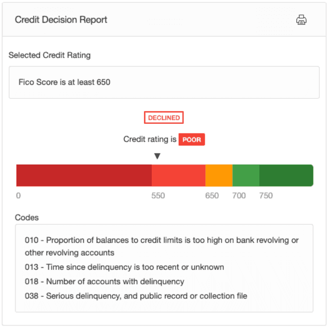 Credit decision report