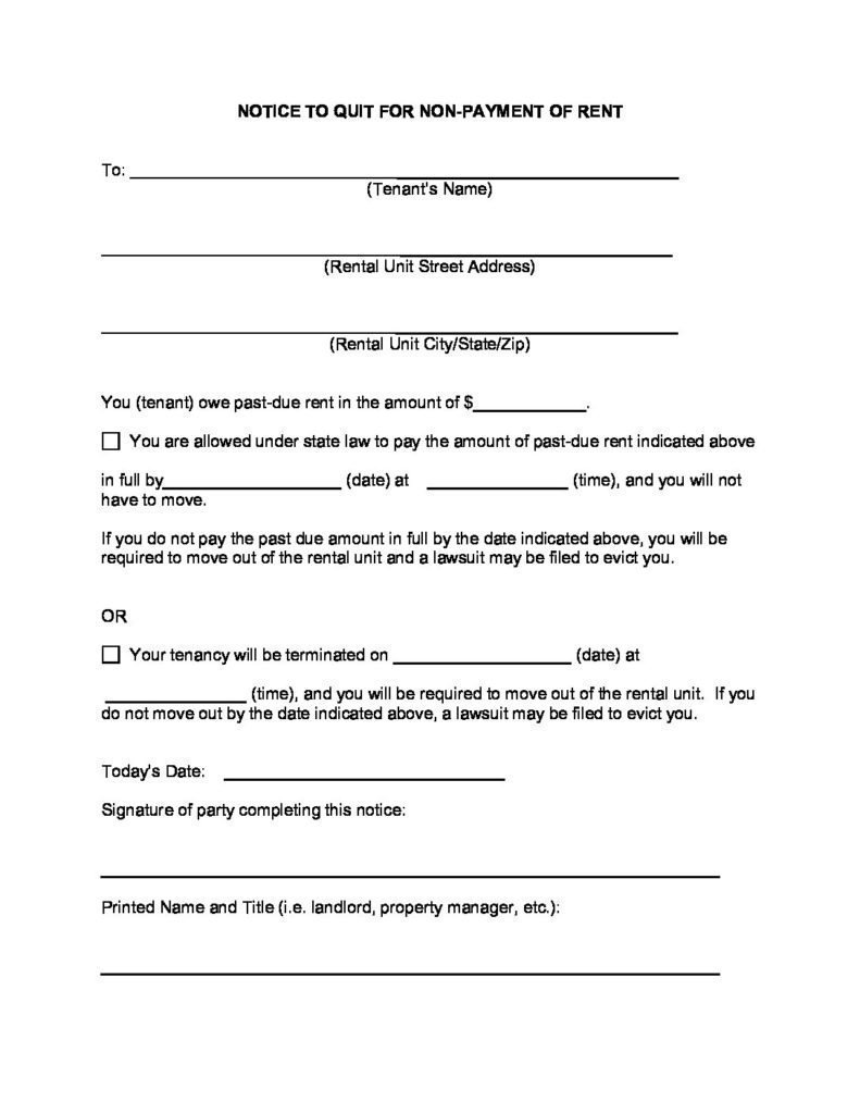 Eviction Notice Form Template Nonpayment of Rent  sample
