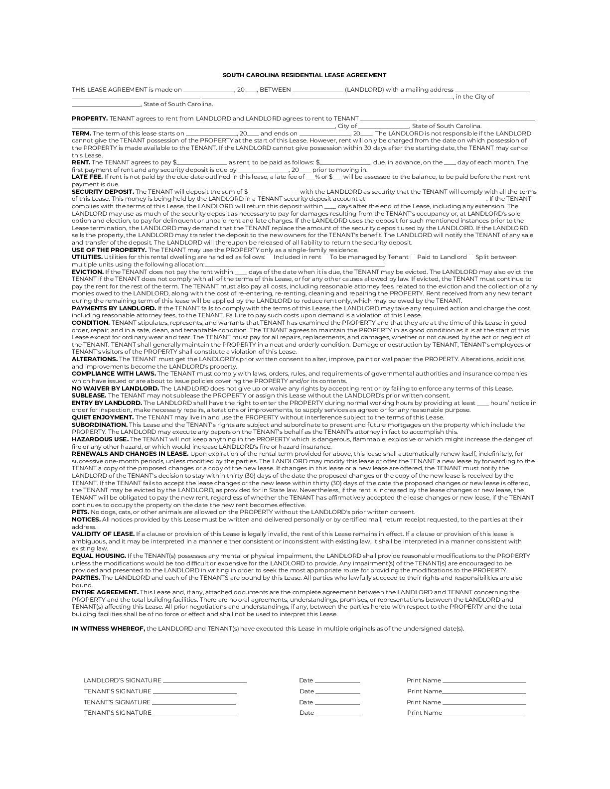 South Carolina Simple Residential Lease Agreement Template sample