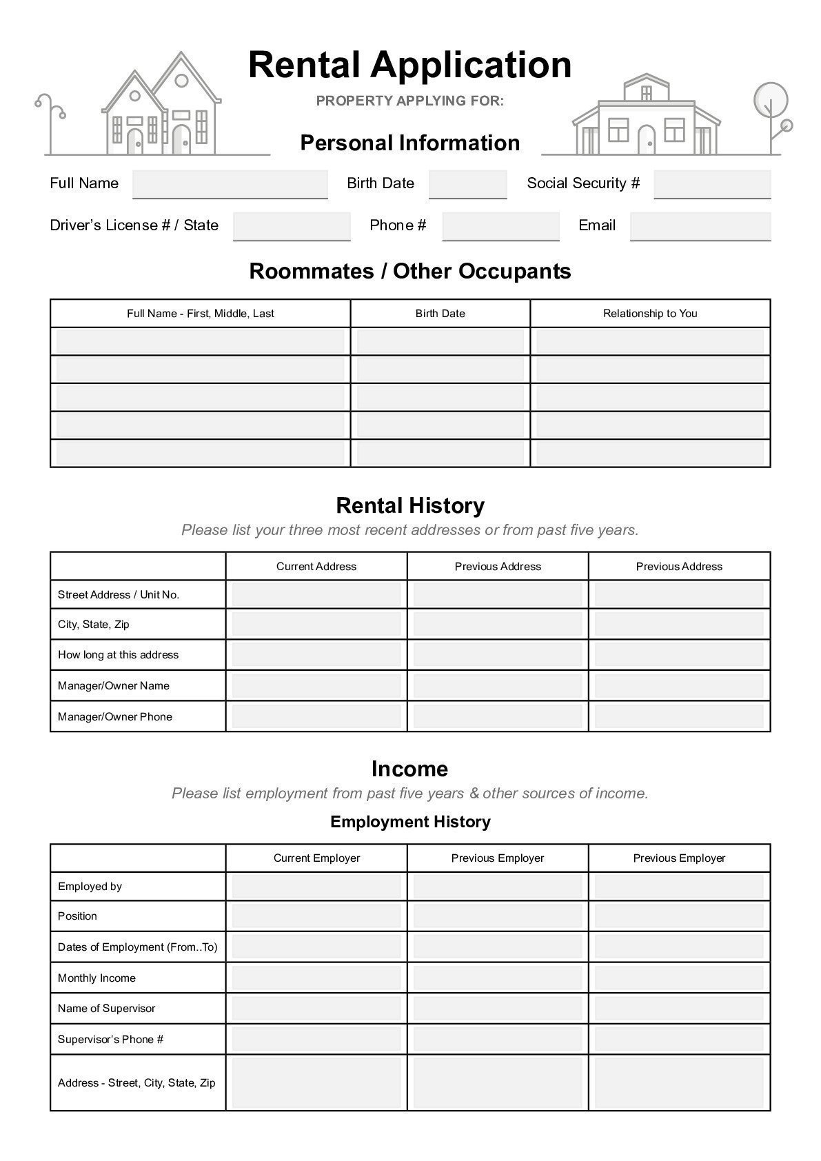 Rental Application Form Template  sample