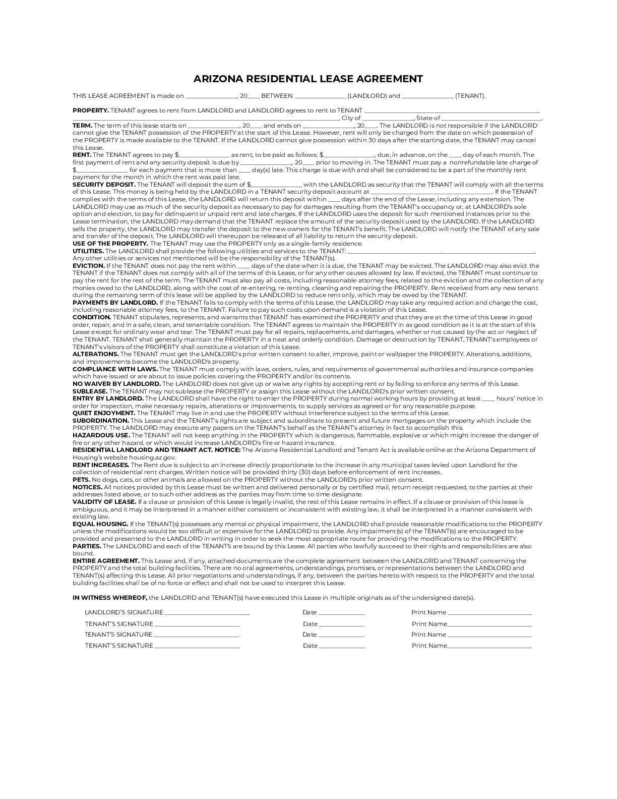 Arizona Simple Residential Lease Agreement Template sample